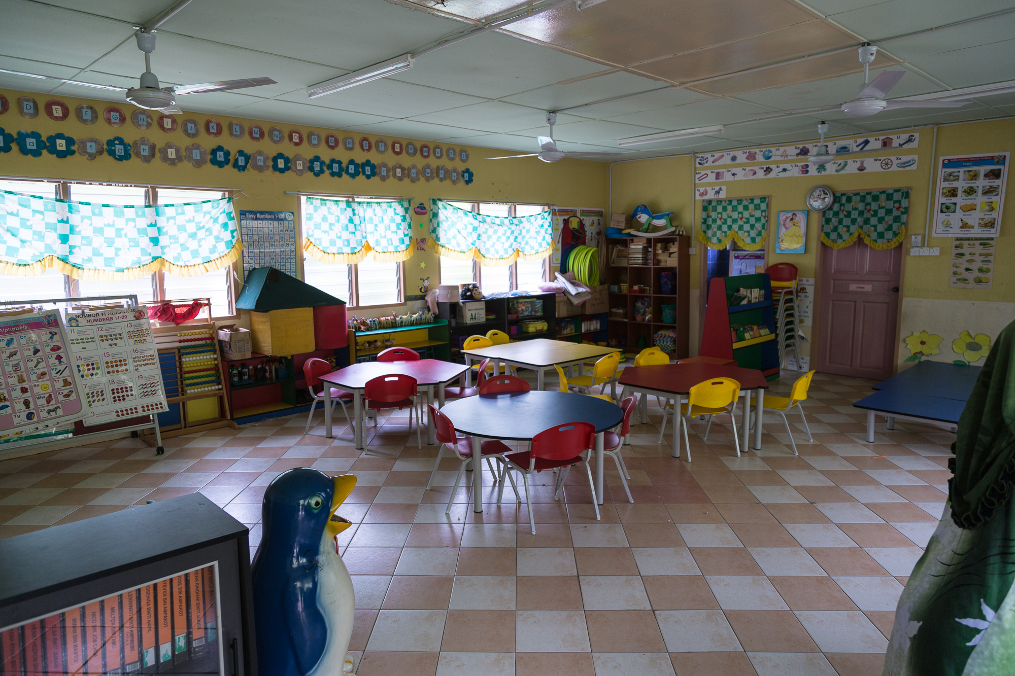setting up a pre-school room
