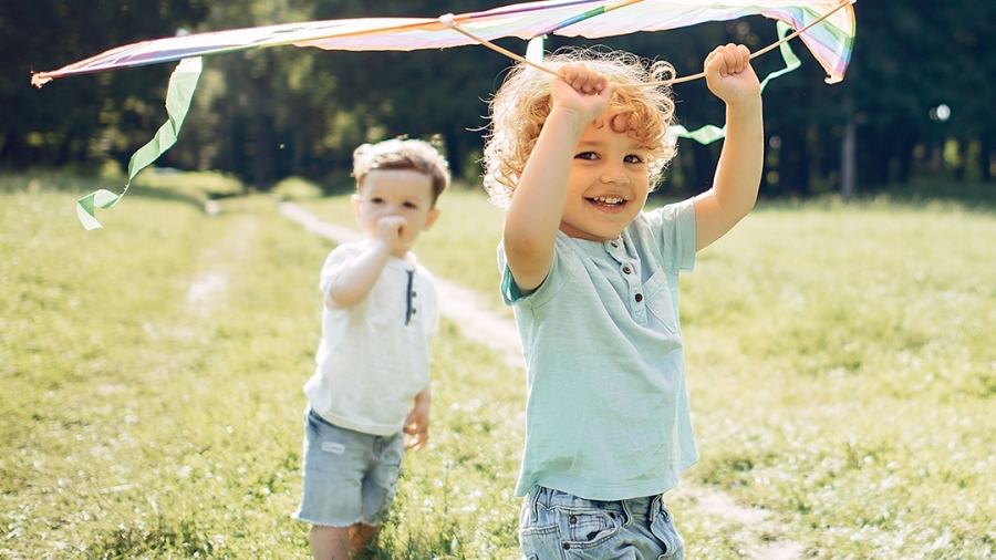Boys flying a kite in the sunshine
