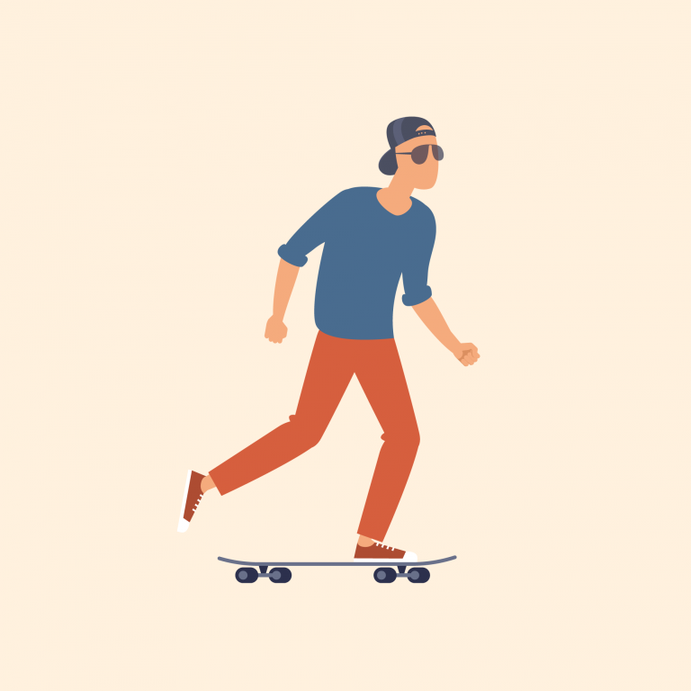 Illustration of man on skateboard