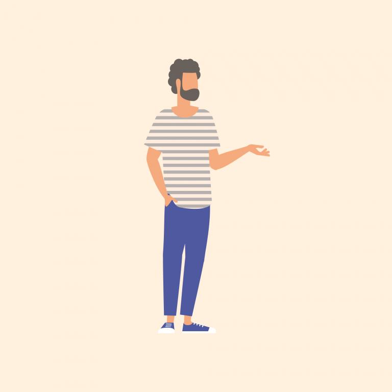 Illustration of man wearing striped tshirt