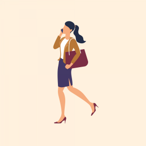 Illustration of woman with briefcase and mobile