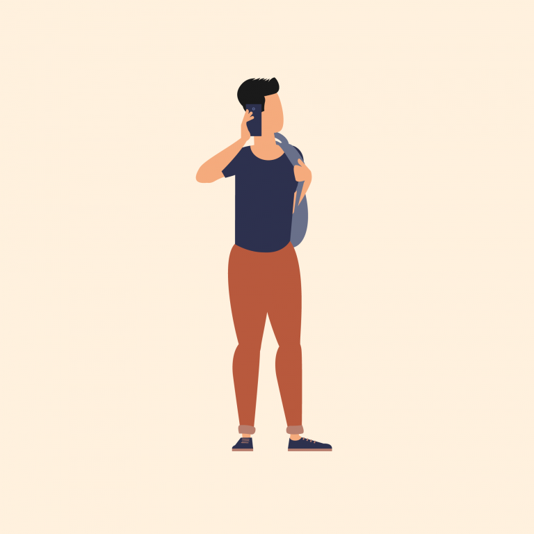 Illustration of man talking on mobile