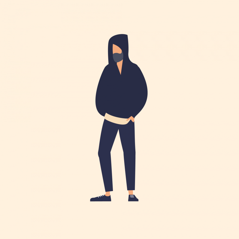Illustration of man wearing hooded jumper