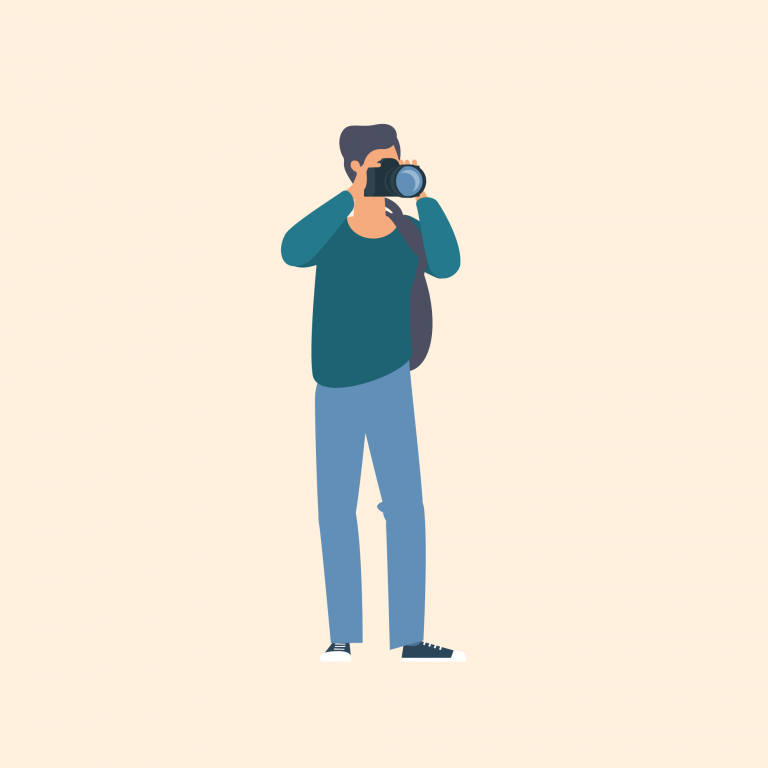 Illustration of man with camera taking pictures