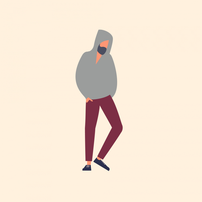 Illustration of man wearing a hooded jumper
