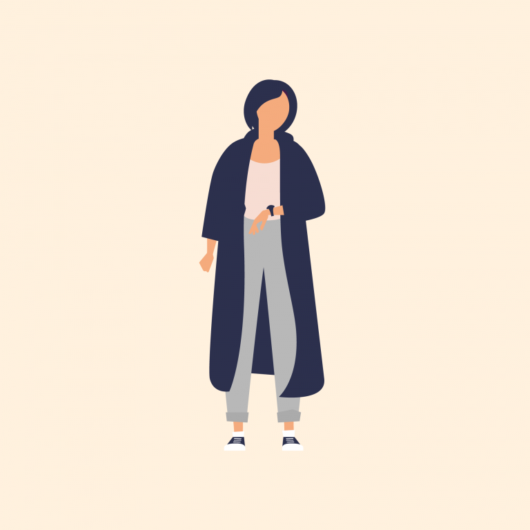 Illustration of woman with long cardigan